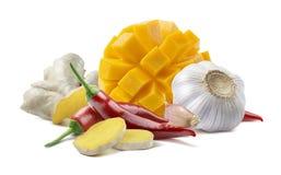 芒果辣椒姜在白色背景隔绝的大蒜酸辣调味品 免版税图库摄影