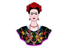芙烈达・卡萝传染媒介画象,有一种传统发型的年轻美丽的墨西哥妇女,墨西哥人制作首饰和礼服 向量例证