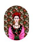 芙烈达・卡萝画象,有一种传统发型的墨西哥妇女 墨西哥人制作首饰和红色花 向量 向量例证