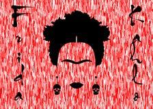 芙烈达・卡萝画象,红色背景 免版税图库摄影