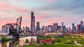 芝加哥、伊利诺伊、美国公园和地平线 股票录像