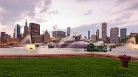 芝加哥、伊利诺伊、美国喷泉和地平线 股票录像