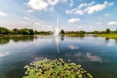 芝加哥与喷泉在池塘,格伦克,美国的植物园风景 免版税图库摄影