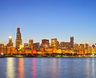 芝加哥伊利诺伊美国,街市城市的全景  免版税库存照片