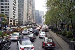 芝加哥伊利诺伊街市堵车 库存图片