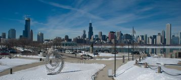 芝加哥全景冬天 免版税库存照片
