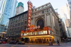 芝加哥剧院在晚上 免版税库存图片