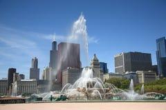 芝加哥喷泉地平线 免版税库存图片