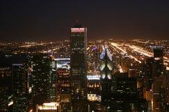 芝加哥在晚上 免版税库存图片