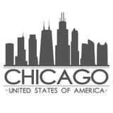 芝加哥地平线剪影设计城市传染媒介艺术 库存照片
