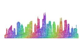 芝加哥地平线剪影-多色线艺术 免版税库存图片