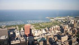 芝加哥地平线和密执安湖 免版税库存照片