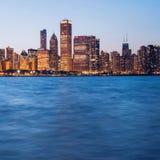 芝加哥地平线日落 免版税库存照片