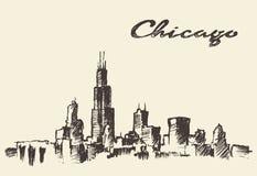 芝加哥地平线葡萄酒例证被画的剪影 免版税库存图片