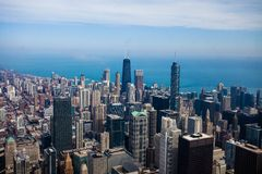 芝加哥地平线鸟瞰图 免版税库存照片