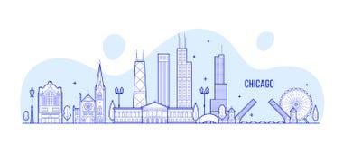 芝加哥地平线,美国导航线性城市的大厦 库存例证