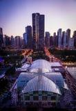 芝加哥地平线-海军码头 免版税库存图片