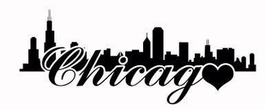 芝加哥地平线-爱芝加哥 免版税库存图片