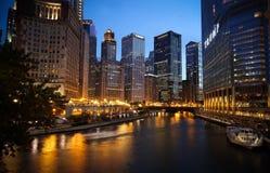 芝加哥夜 免版税库存照片