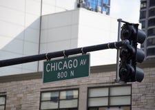 芝加哥大道,街市芝加哥伊利诺伊 库存照片