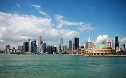 芝加哥密执安湖s地平线 免版税库存照片