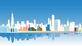 芝加哥市地平线和大厦剪影背景 导航例证,平的设计,多种颜色,隔绝用水 库存例证