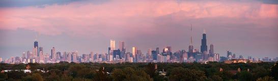 芝加哥日落全景  免版税库存照片