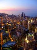 芝加哥日落和密执安湖 免版税库存图片