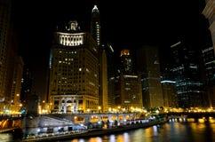芝加哥晚上视图 库存照片
