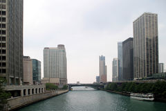 芝加哥河摩天大楼 库存照片