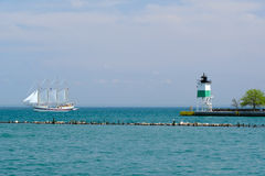 芝加哥港口东南Guidewall灯塔 库存照片