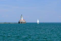 芝加哥港口灯塔,在1893年修造 库存照片