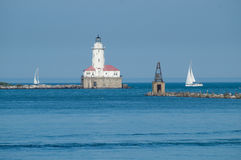 芝加哥港口灯塔 免版税库存照片