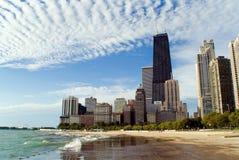 芝加哥湖边平地地平线 库存图片