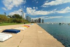 芝加哥湖边平地线索 免版税库存照片