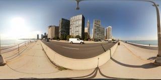 360芝加哥湖边平地足迹的虚拟现实图象 免版税库存图片
