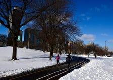 芝加哥湖边平地足迹 免版税图库摄影