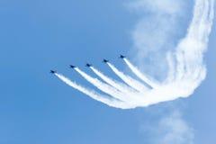 芝加哥空气和水展示,美国海军蓝色天使 免版税库存照片