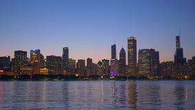 芝加哥美好的地平线在晚上 股票录像