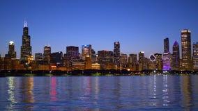 芝加哥美好的地平线在晚上 股票视频