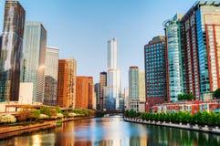 芝加哥街市与在池氏的王牌国际饭店和塔 免版税图库摄影