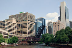 芝加哥街市和芝加哥河,美国 库存图片