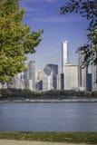 芝加哥街市在秋天风景 图库摄影