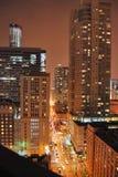 芝加哥街市夜生活 免版税库存照片