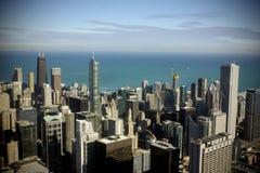 芝加哥街市如被看见从威利斯塔 库存照片