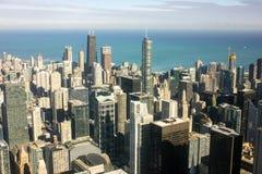 芝加哥街市如被看见从威利斯塔 图库摄影