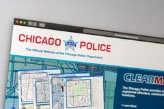 芝加哥警察局网站主页 接近警察局商标 免版税库存图片