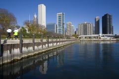 芝加哥跑步的早晨 免版税库存图片
