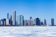 芝加哥都市风景在冬天 免版税库存图片