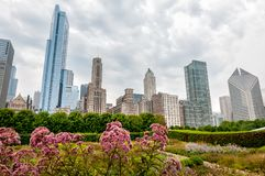 芝加哥都市风景看法与摩天大楼的从千禧公园在多云天,美国 免版税库存图片